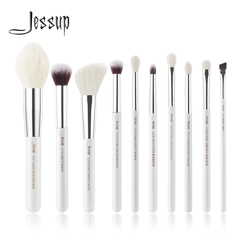 Jessup Pearl White/Silver Professional Makeup Brushes Set Make up Brush beauty Tools kit Foundation Powder Definer Shader Liner jessup brand 25pcs beauty bamboo professional makeup brushes set make up brush tools kit foundation powder blushes eye shader