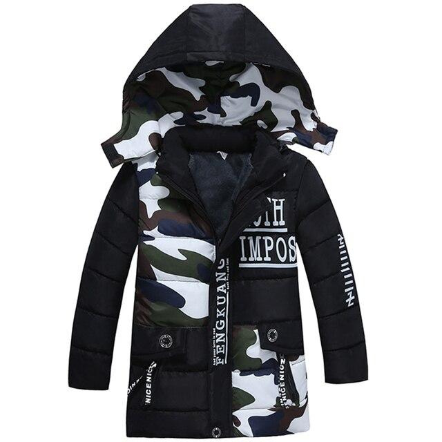 Bibihou/2017 г. парка для девочек, зимнее пальто для маленьких мальчиков, хлопковая модная камуфляжная зимняя куртка, верхняя одежда для детей, теплая хлопковая стеганая куртка