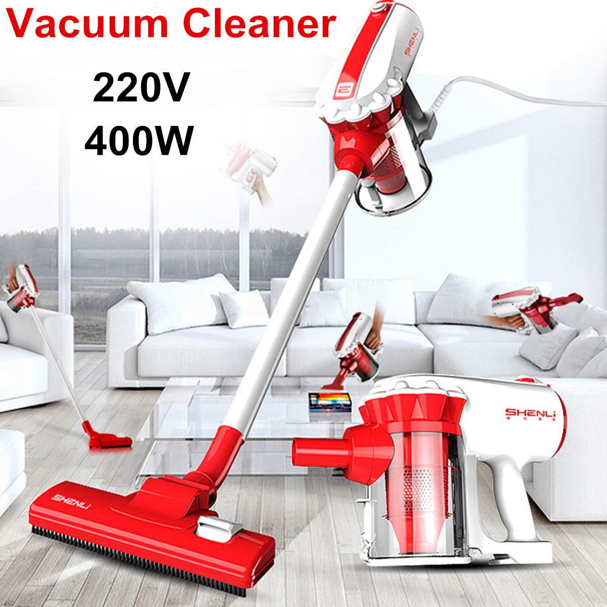 Sofa Vacuum Cleaner Brush Us 98 69 400w 220v Handheld Bagless Handstick Vacuum Cleaner Vac Stick Floor Carpet Sofa Powerful 360 Rotate Interchangeable Roller Brush In Vacuum