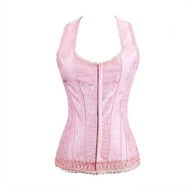 b376e01efb Sapubonva halter corset top lace flower print vest corset and bustier  brocade gothic shaper sexy lingerie