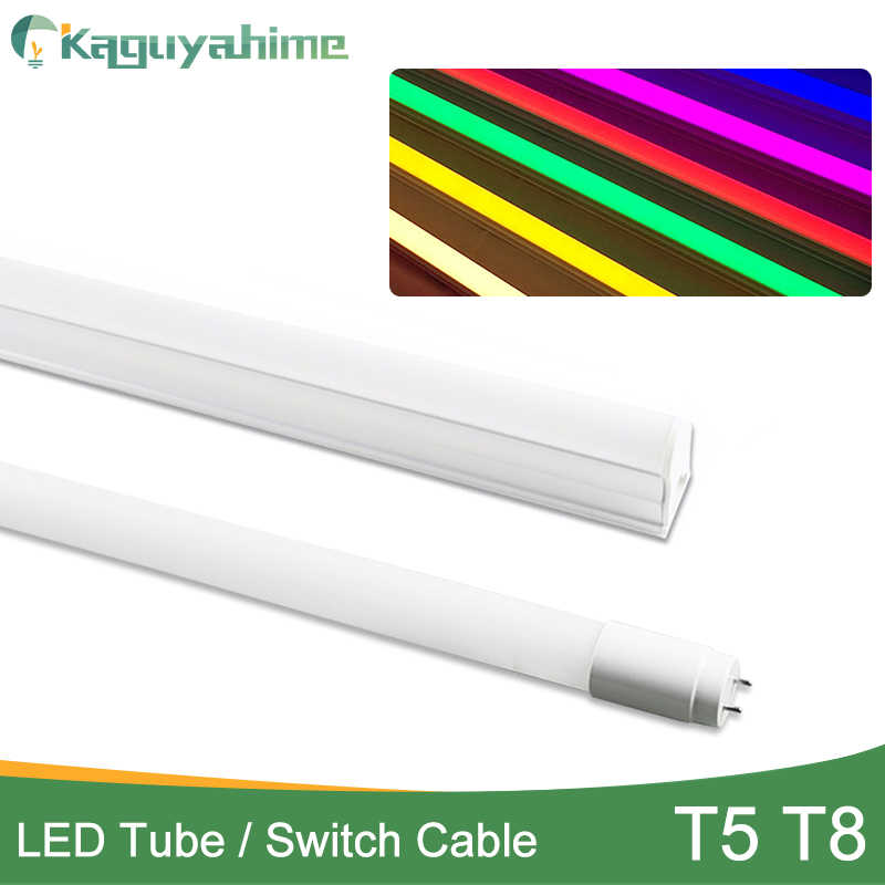 Kaguyahime RGB White NO Flicker Integrated Driver LED Fluorescent Tube T5 T8 6W 10W 110V 220V LED Tube Light Red Green Bule Pink