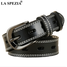 LA SPEZIA Women Belt For Jeans Black Pin Buckle Leather Ladies Vintage Real Cowhide Female Accessories 115cm