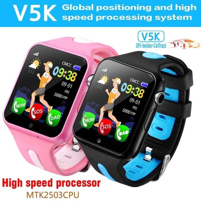 US $61 8  GPS Smart Watch V5K Waterproof Smartwatch With Camera Facebook  SOS Call Wearable Tracker Anti Lost Finder Kids Watch PK DF31G-in Smart