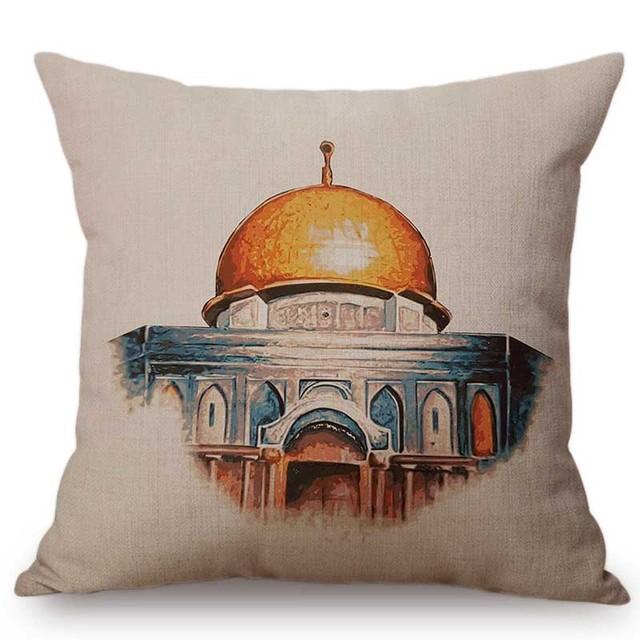 "18"" Hand Drawing Muslim Islamic Mosque Art Building Architecture Home Decor Throw Pillow Case Arabian Cotton Linen Cushion Cover"