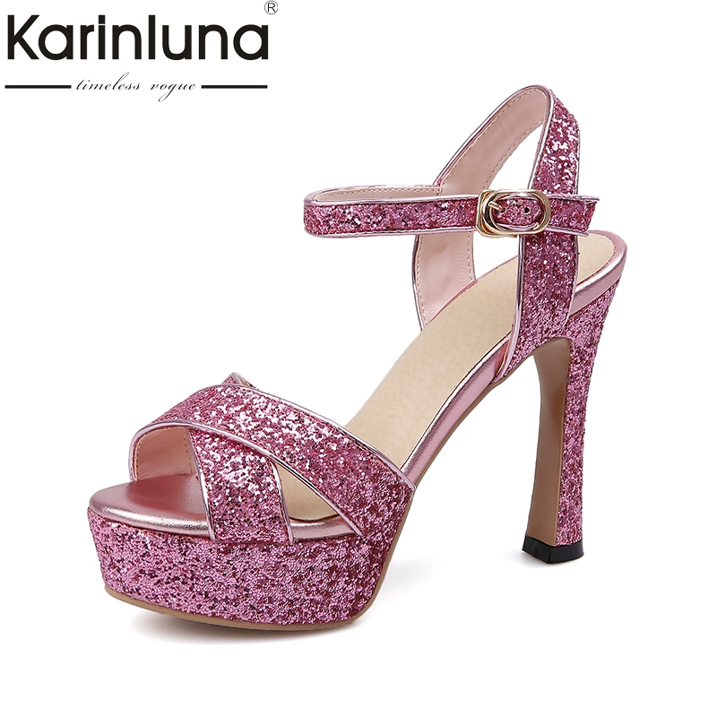 Karinluna Big Size 32-43 Platform High Heels Ankle Strap Women Shoes Sandals Bling Upper Party Wedding Bride Summer Shoes Woman rousmery 2017 ankle wrap rhinestone high heel sandals woman abnormal jeweled heels gladiator sandals women big size 43
