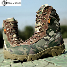 Spring Men Military Tactical Boots High Top Canvas Round Toe Zipper Lace Up Combat Army Boot Mens