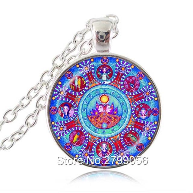 Gemini Zodiac Pendant Mandala Astrology Necklace June Birthday Gift Twins Yoga Meditation Jewelry Constellation Choker