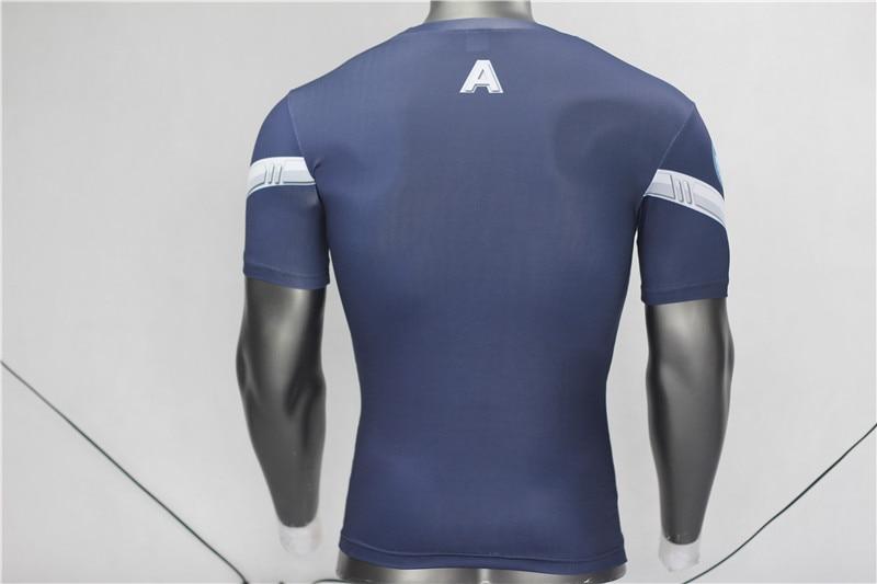 Kaptan Amerika 3D Kas Gömlek Erkekler Slim Fit T Shirt Vücut - Erkek Giyim - Fotoğraf 6