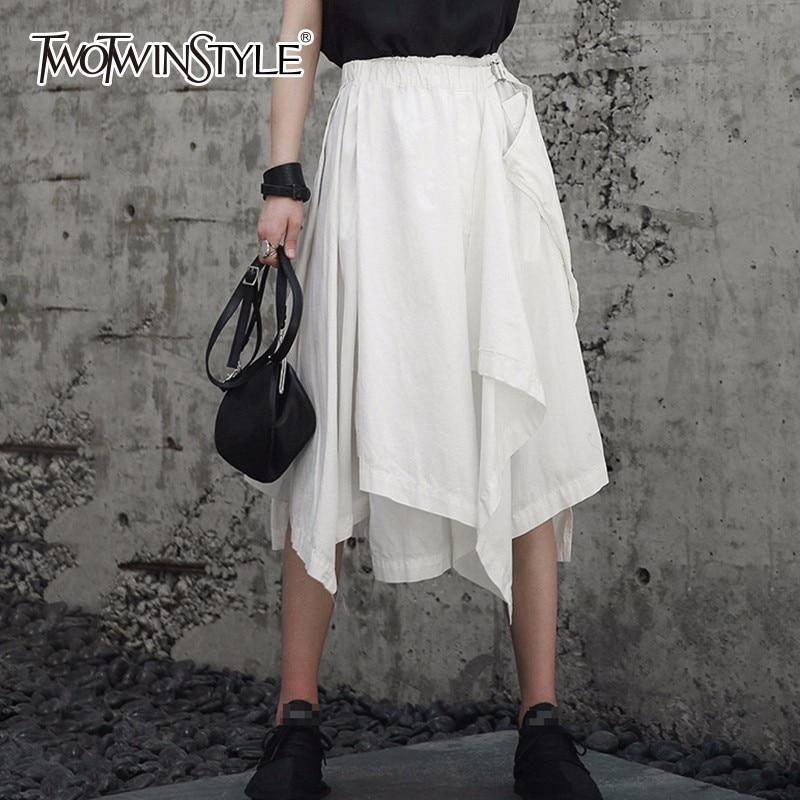 Deuxtwinstyle Patchwork irrégulière Midi jupes femmes à lacets taille haute jupe femme Streetwear été mode vêtements 2018 nouveau