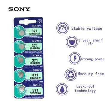 5 шт. Sony 100 Оригинал 371 SR920SW 920 LR920 AG6 LR920 LR69 171 1,55 V оксид серебра часы батарея Сделано в Японии