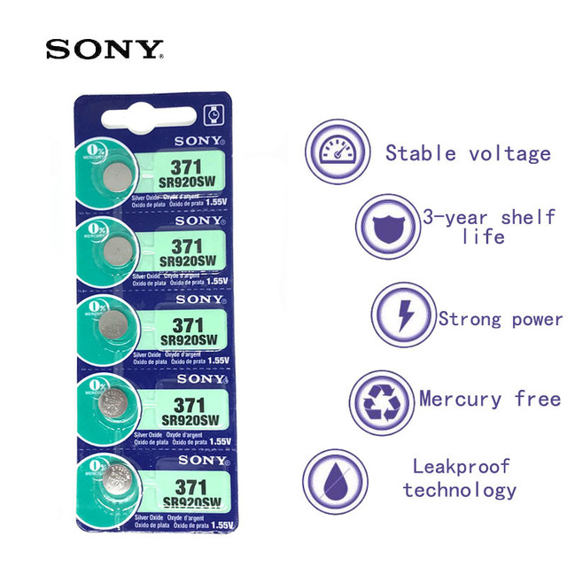 5pcs Sony 100 Original 371 SR920SW 920 LR920 AG6 LR920 LR69 171 1.55V Silver Oxide Watch Battery Watch Battery MADE IN JAPAN