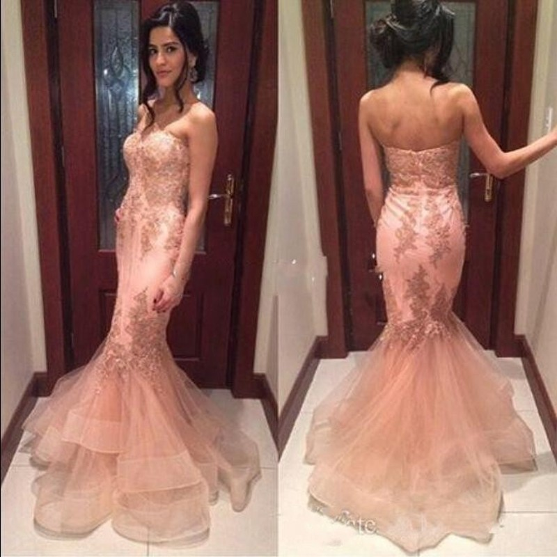 Sexy Shoulder Mermaid Evening Dress 2016 Formal Pink Lace Tulle Vestido De Festa Longo Cheap Prom Gowns - FLD Wedding Dresses store