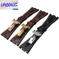 Watch band 28mm New Men High Quality Genuine Leather Watchbands Strap With Rose Gold Deployment Steel Watch buckle Clasp