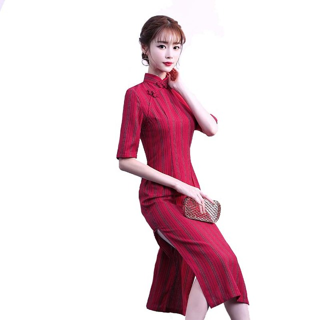 New Cotton Linen Women Slim Flower Cheongsam Traditional Chinese Sexy Dress  Vintage Mandarin Collar Handmade Button 3d75ebfb5a00
