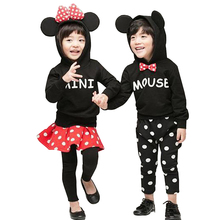 Spring Fall baby boys hooded sweatshirt + pants girls 2 pcs set kids tracksuit children dot bow letter minnie mickey 3 to 10 yrs