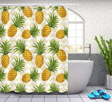 Tropical Fruit Pineapple on Golden Waves Bathroom Shower Curtain Waterproof Polyester & 12 Hooks Bath Curtains Accessory Set(China)