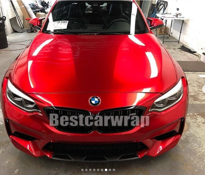Premium Blood Red Cherry Gloss Candy Vinyl Wrap For Car Wrap Covering Foil With Air Bubble Free /  Size:1.52*20M/Roll (5ftx66ft
