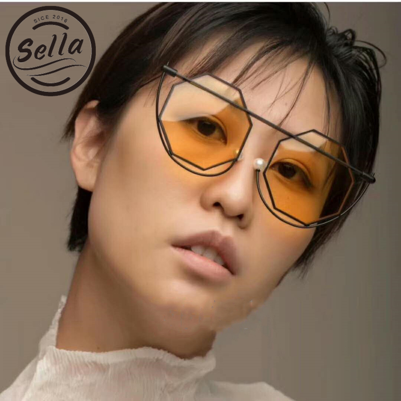 Sella Fashion Unique Irregular Hexagon Alloy Frame Sunglasses Brand Designer Tint Lens Pearl Nosepad Glasses Frame