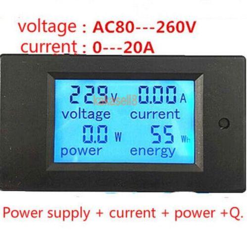 20a ac multifunction digital led medidor de painel de energia monitor medidor de tensão de energia