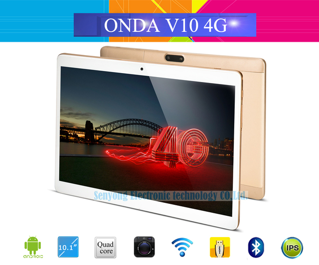 10.1'' IPS Onda V10 4G Phone Call Tablet PC 1280*800 MTK6735 Quad Core Android 5.1 Dual SIM Card GPS 1GB Ram 16GB Rom