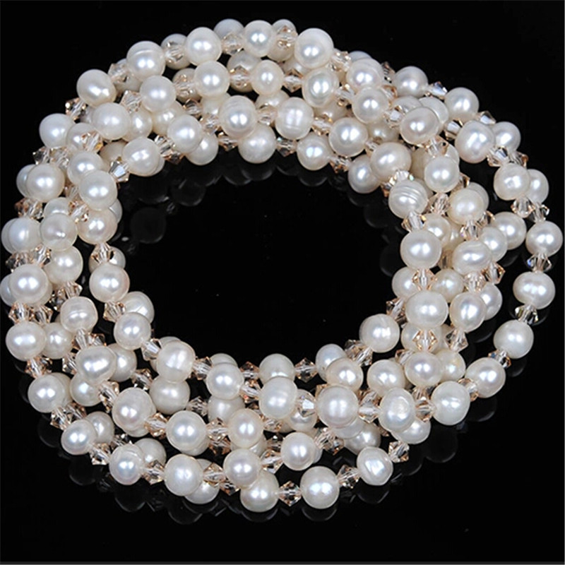 купить RUNZHUQIYUAN 2017 100% natural freshwater pearl long necklace Crystal Beads Accessories Statement Necklace Jewelry For Women по цене 3505.95 рублей