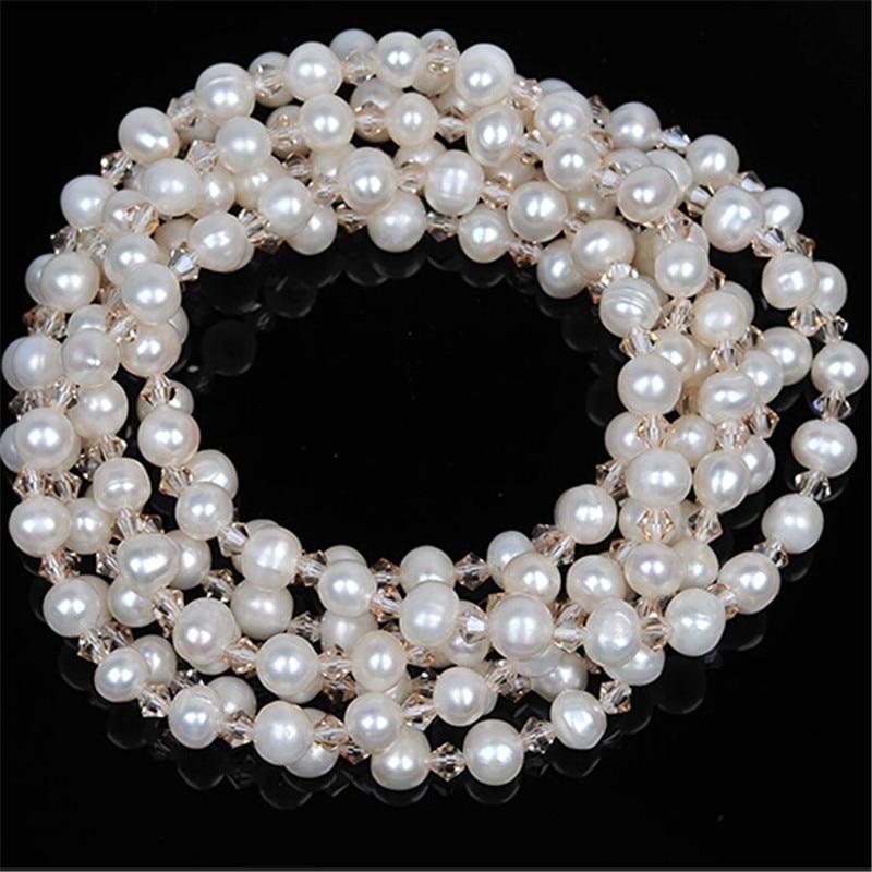 RUNZHUQIYUAN 2017 100% perle d'eau douce naturelle long collier perles de cristal accessoires déclaration collier bijoux pour femmes