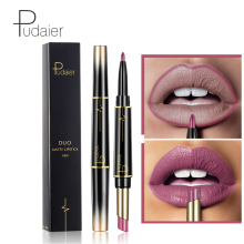 Pudaier Matte Lipstick Lip Liner Pen Dobbelt Hoved Automatisk Rotation Makeup Pencil Lip Plumper Glans Læbestift Maquillaje Batom