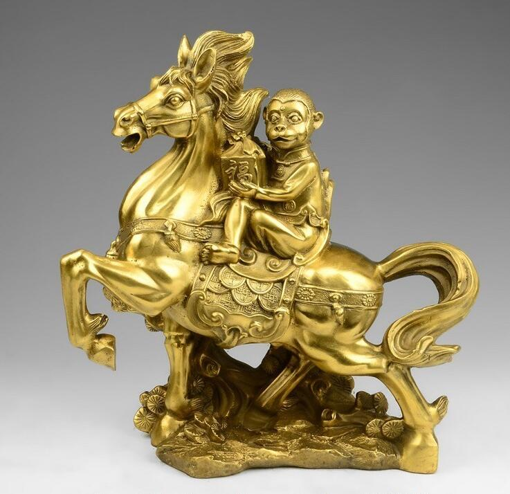 China Brass Copper Palace Fengshui Immediately Seal Hou Monkey Ride Horse Statue statue