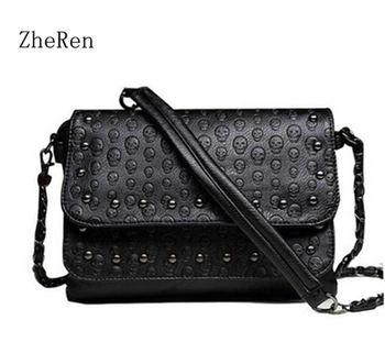 2016 New Fashion Ladies nail satchel Soft Skull Black chain Bag Handbag  Women bag grande bolsas femininas de couro