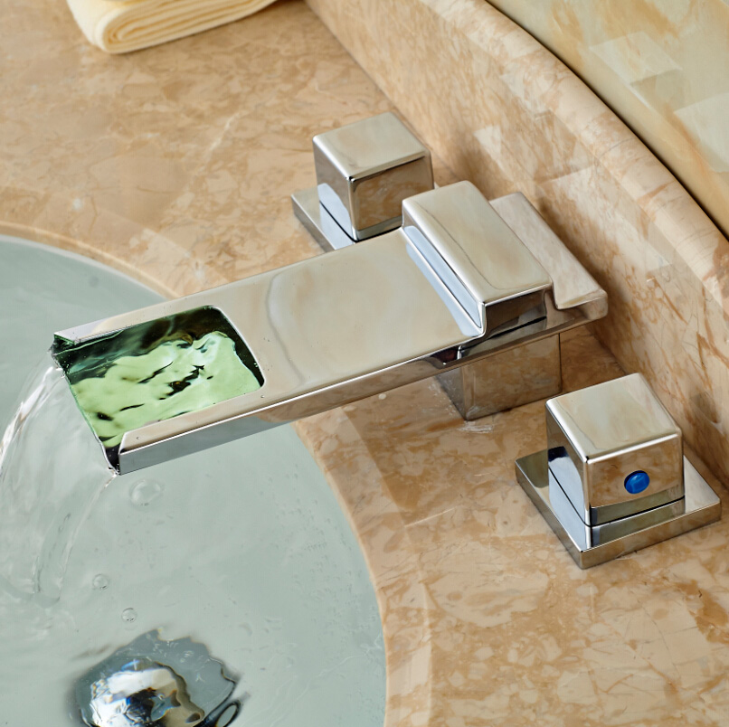 ФОТО LED Color Changing Waterfall Basin Faucet Dual Handles Sink Mixer Deck Mount Water Tap