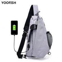 Classics Mens Crossbody Bags USB Chest Bag Canvas large capacity Waterproof and guard against theft sports bags free shipping.