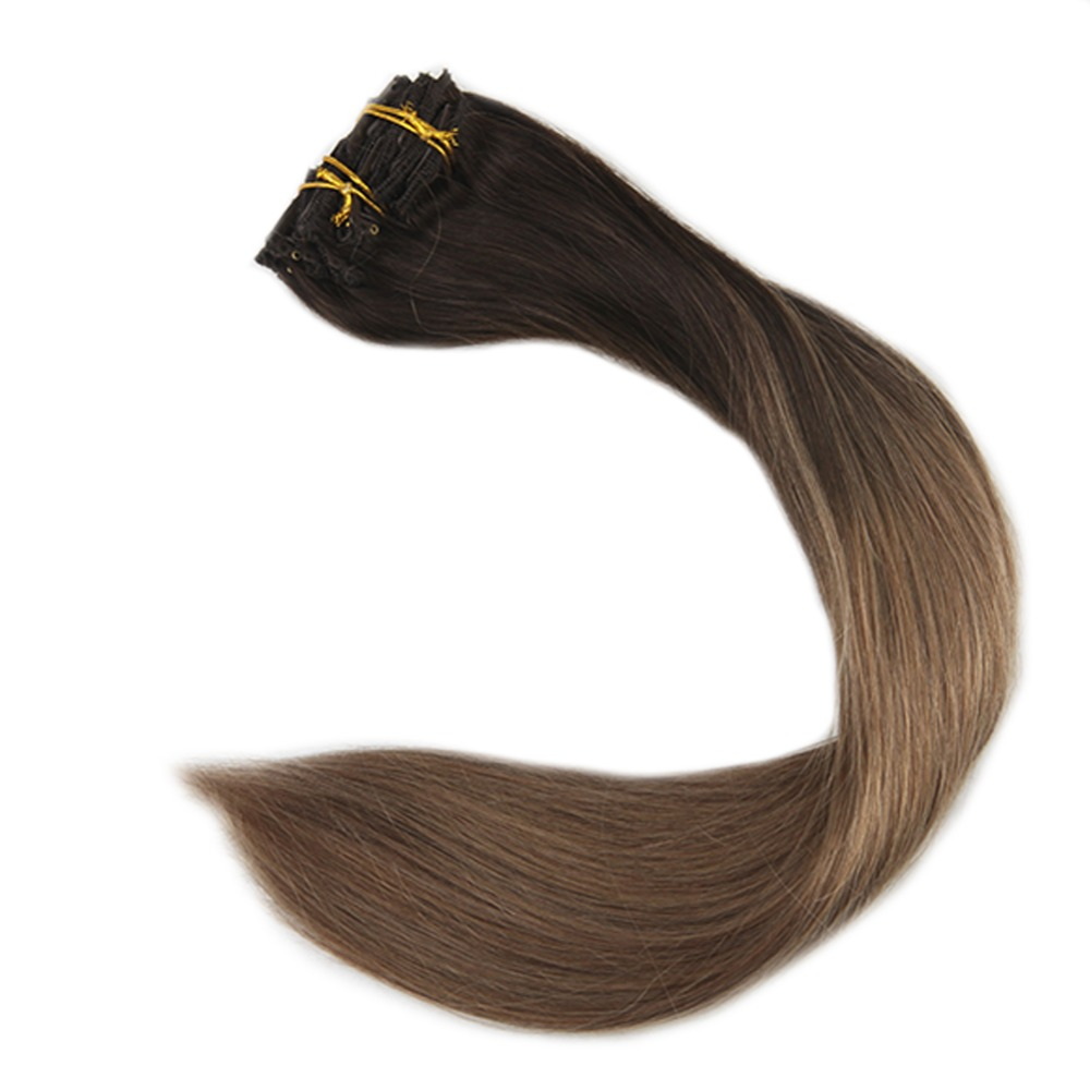 Full Shine Clip In Hair Extensions Human Hair 10Pcs Balayage Color #2 Fading To 8 100g Machine Made Remy Clip In Extensions