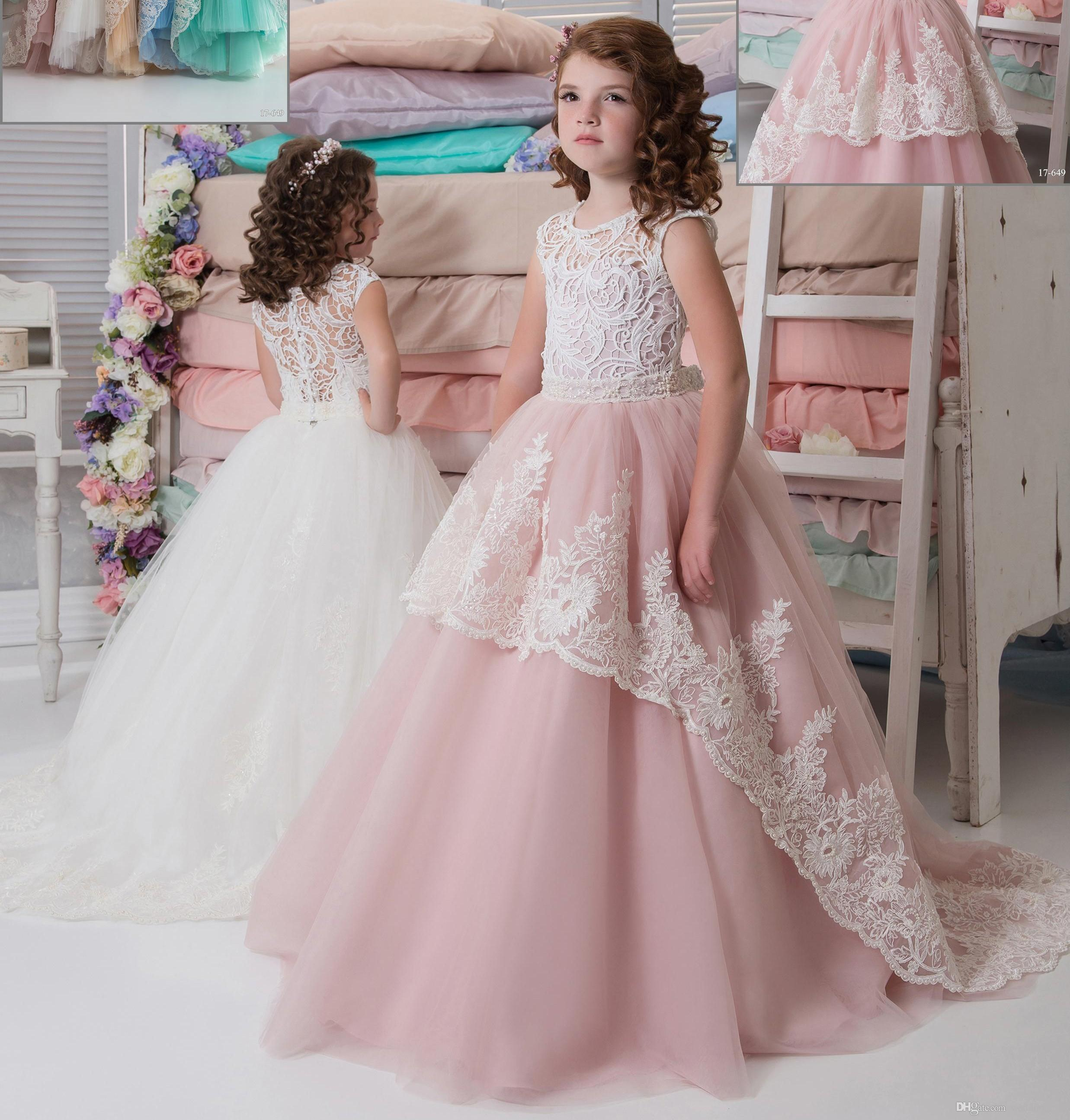 Lace arabic pink blush 2017 flower girl dresses for for Little flower girl wedding dresses
