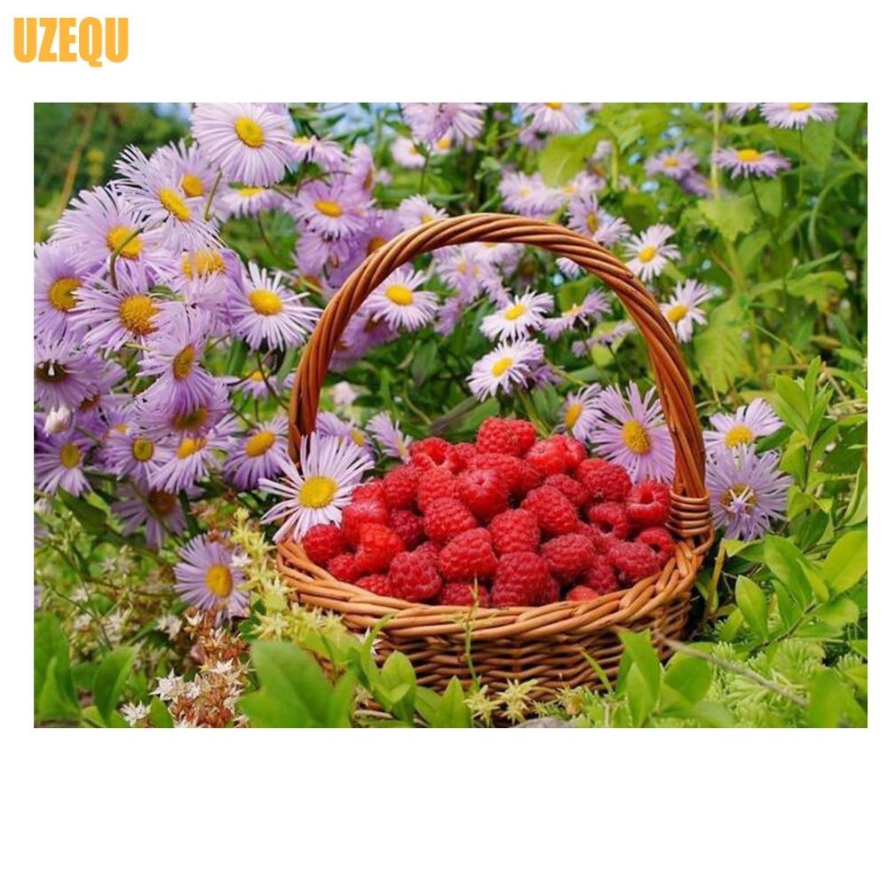 UzeQu 5D יהלום ציור יהלום צלב תפר פרח תות - אומנויות, מלאכת יד ותפירה