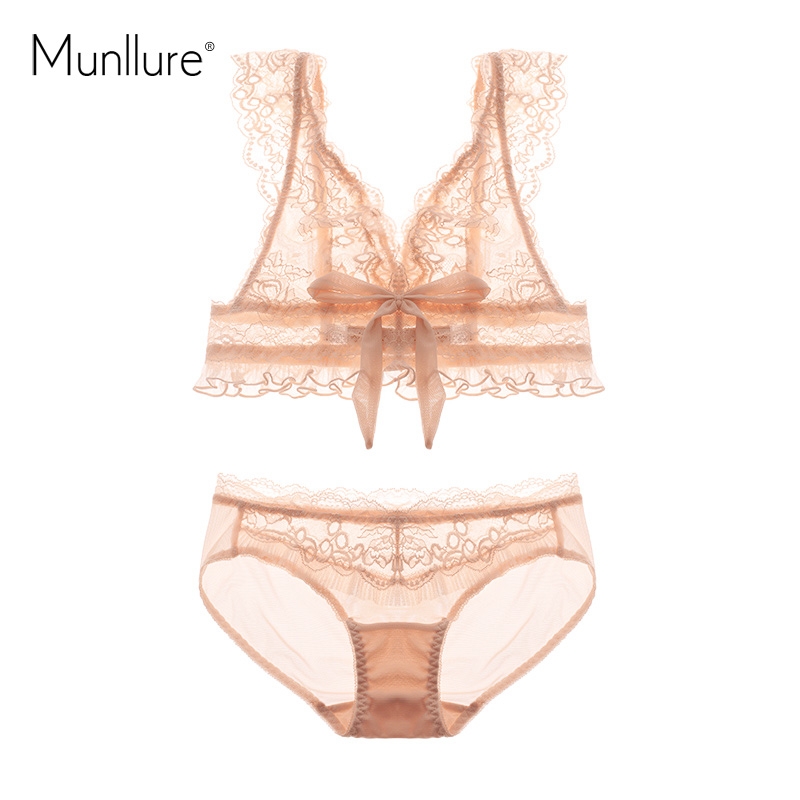 Munllure 2017 New Design Soft White Floral Triangle Bralette Underwear Women Sexy Lace Ultra-Thin Female Lingerie   Bra     Set