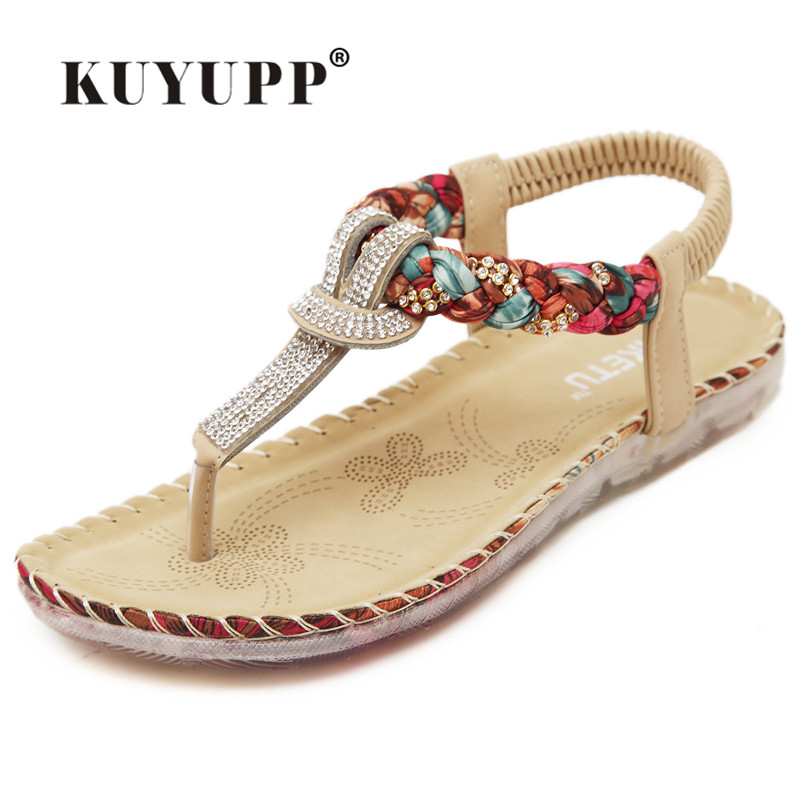 KUYUPP Bohemian Ladies Thong Sandals Diamond Beads Slippers Ankle Slingback Flats Flip Flops Shoes Summer Beach Sandals YDT538 kuyupp fashion leather women sandals bohemian diamond slippers woman flats flip flops shoes summer beach sandals size10 ydt563