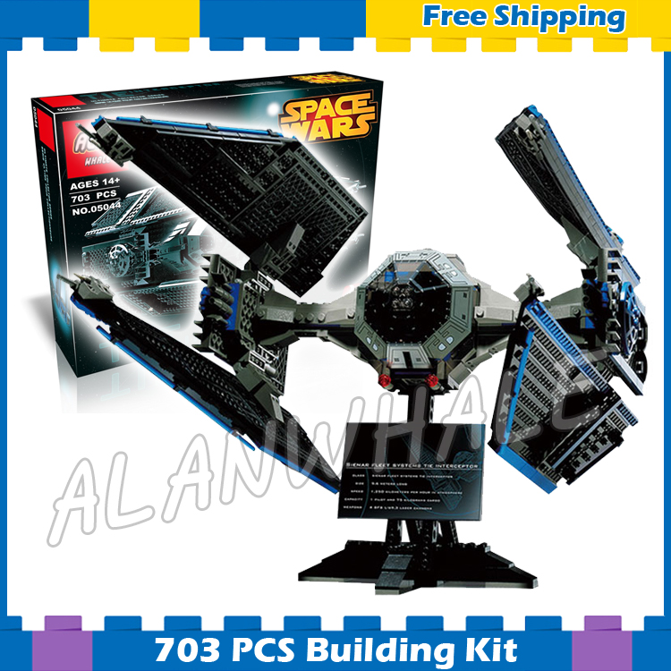 703pcs New Space Wars 05044 Ultimate Collector Series TIE Interceptor Model Building Blocks Gifts Sets Compatible with Lego конструктор lepin star plan истребитель tie interceptor 703 дет 05044