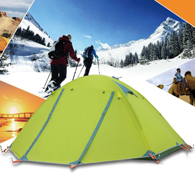 2.5kg Waterproof Tent 1-2 Person Double Layers Aluminum Rod Travel Fishing Beach Camping Tent Outdoor Tents Camping Family China