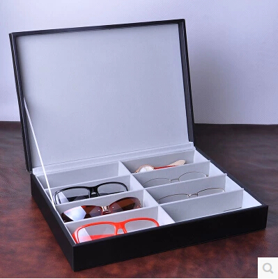 fashion Luxury 8 Grid For Sunglass Eyewear Jewelry Watches Accessories Display Case Box Tray with Lid Wood + silk YJ001