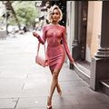 Winter Dress 2016 Women Runway Bandage Dress Pink O neck Long Sleeve Mesh Patchwork Front Zipper Celebrity Evening Party Dresses