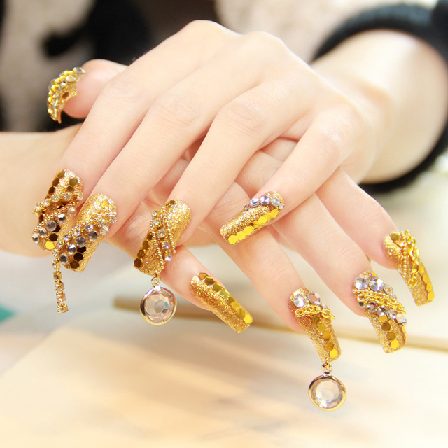 Gold paillette false nails nail tips luxury square toe long design ...