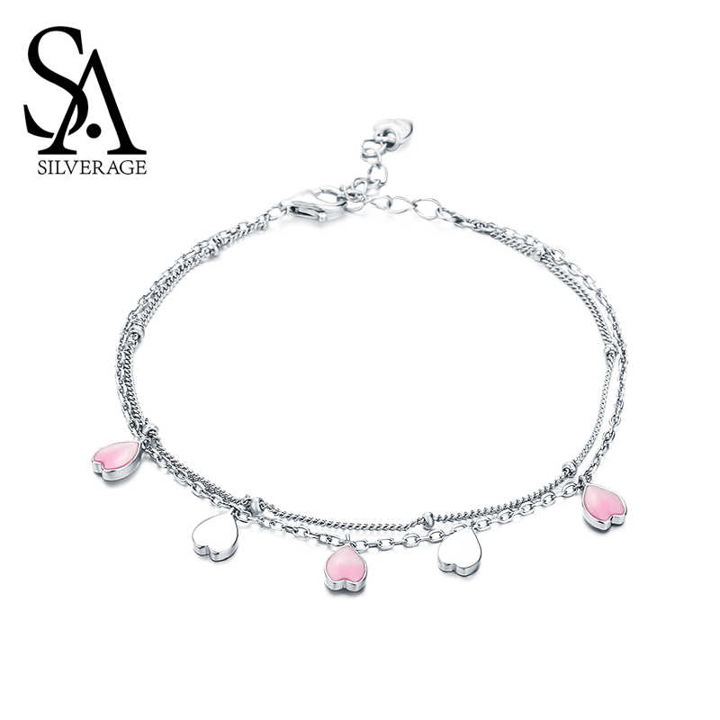 SA SILVERAGE Female Simple Bracelet Jewelery Party Gifts S925 Sterling Silver Cherry Blossom Petal Bracelets Bangles for Women