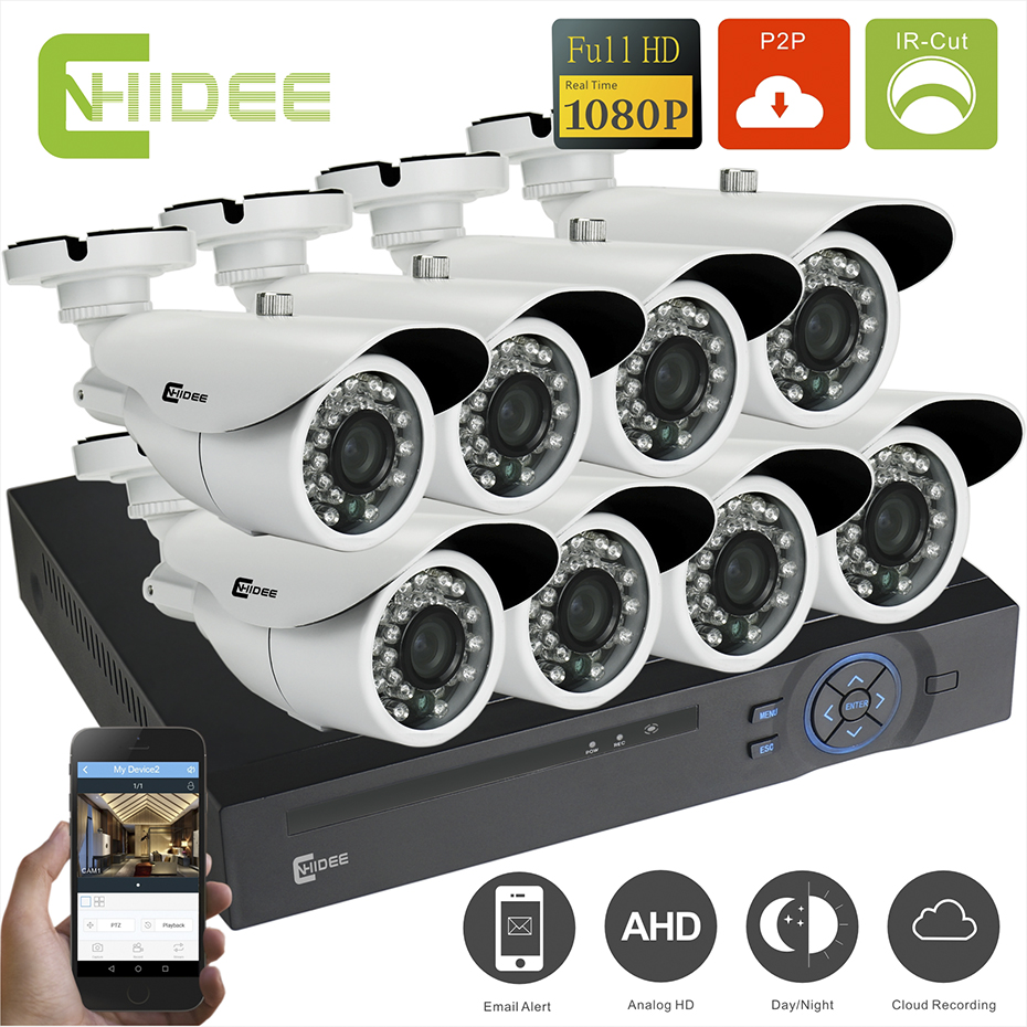CNHIDEE HD 8CH CCTV System 1080P DVR 8PCS1080P 2000TVL IR Outdoor Video Surveillance Security Camera System 8 channel CCTV Kit . hd 8ch cctv system 720p dvr 8pcs 720p 1200tvl ir outdoor video surveillance security camera system 8 channel dvr kit
