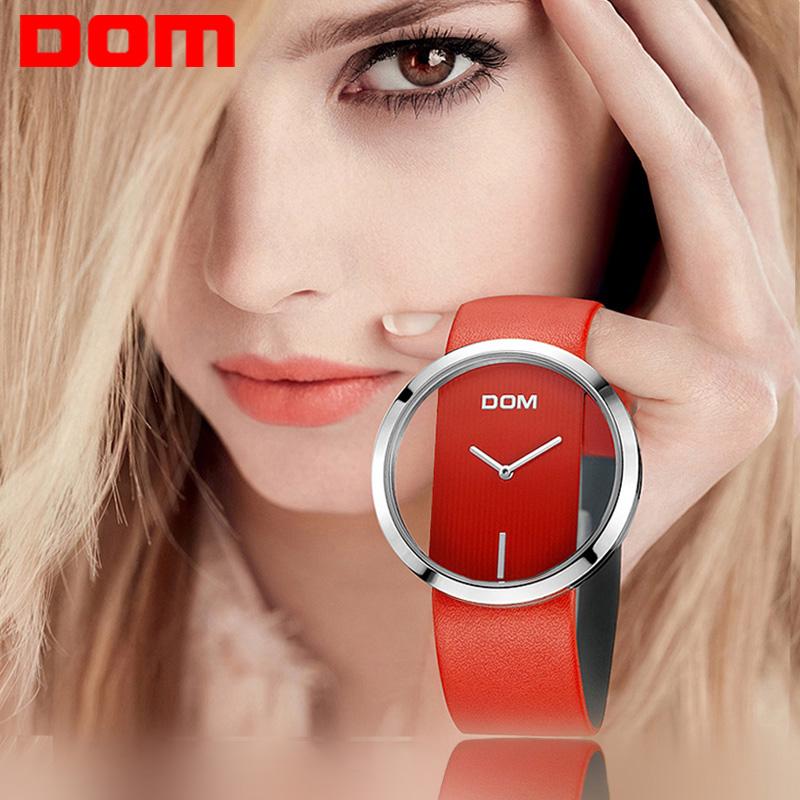 Prix pour Montre Femmes DOM marque de luxe De Mode Casual quartz Unique Élégant Creux squelette montres en cuir sport Lady montres 205L