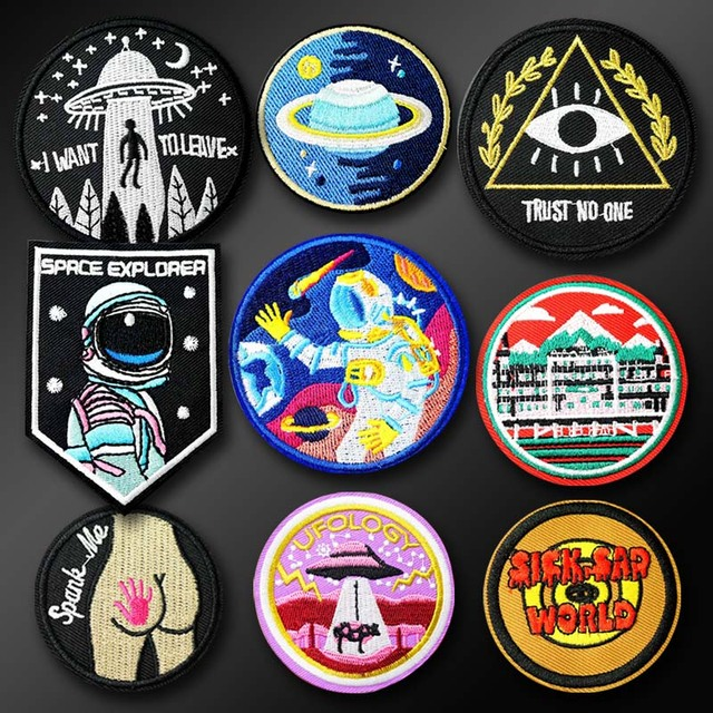 Astronaut UFO SICK SAD WORLD Cloth Badge Mend Decorate Patch Jeans Jackets Bag Shoes Clothes Apparel Sewing Decoration Applique