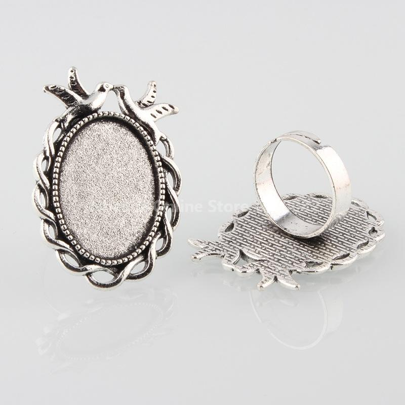 Vintage Adjustable Iron Finger Ring Components Alloy Double Kissing Birds Cabochon Bezel Settings, Antique Silver, Oval Tray: