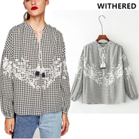 Withered 2017 Autumn Season Women European Style Plaid Embroidery Tassel Sweet Lantern Blusas Kimono Blouse Women