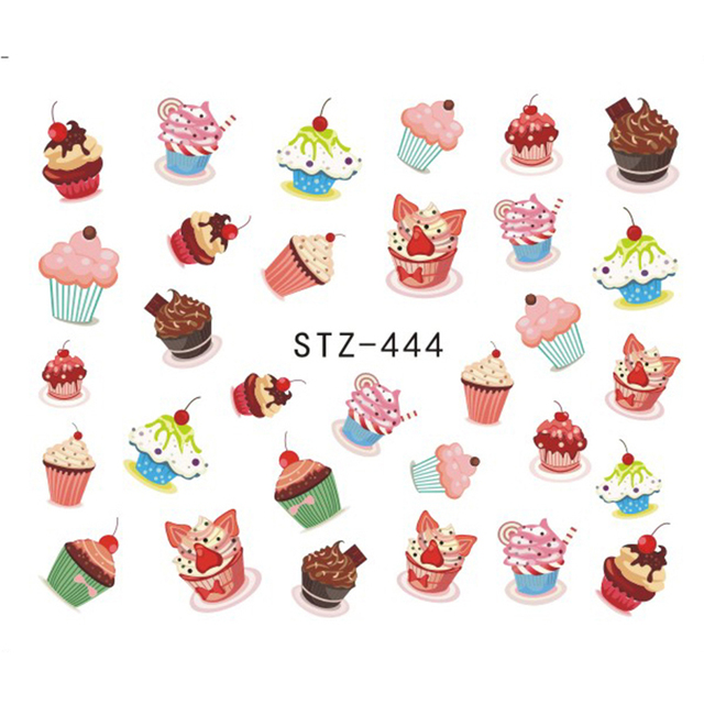 Colorful Cake Nail Art Water Design Stickers