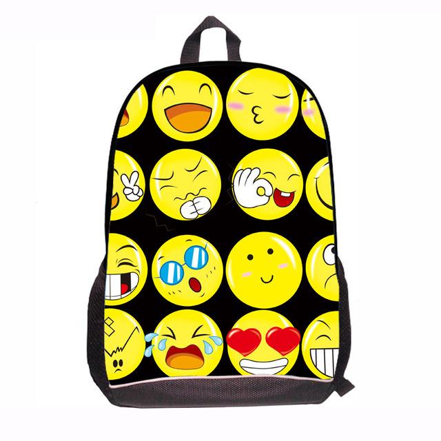 2016 negro Priting 600D/PVC Smiley Ocasional Del Bolso de Escuela Niños Bolsos de Escuela Para Los Adolescentes de Las Mujeres Mini Sonrisa Sonrisa Bolsa de libros de Niños