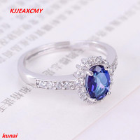 KJJEAXCMY fine jewelry 925 silver inlay natural Tanzanite color Topaz Ladies Ring Jewelry abcde